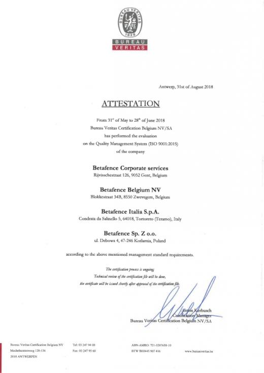 Certyfikat ISO 9001:2015 dla Betafence Sp. z o.o.