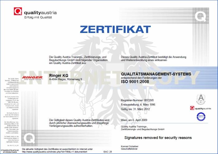 Certyfikat ISO 9001:2008 dla firmy Ringer