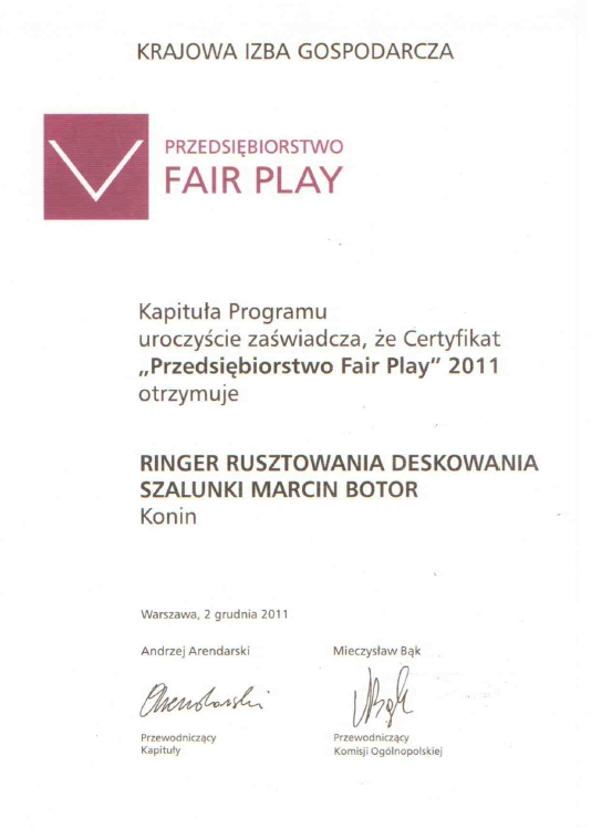 Certyfikat Przedsiębiorstwo FAIR PLAY 2011 dla firmy Ringer