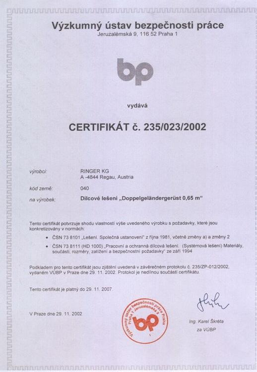 Certyfikat c. 235/023/2002 dla firmy Ringer