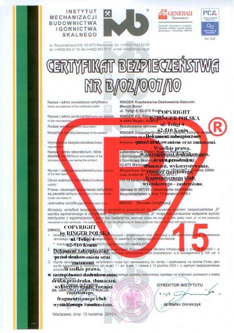 Certyfikat Bezpieczeństwa nr B/02/007/10 dla firmy Ringer