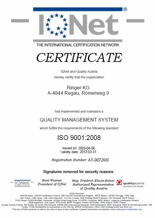 Certyfikat ISO 9001:2008 IQNet dla firmy Ringer