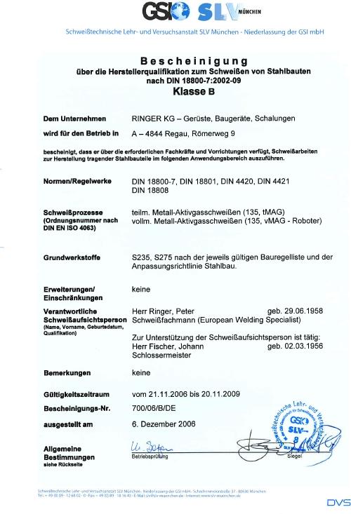 Certyfikat DIN 18800-7:2002-09 dla firmy Ringer