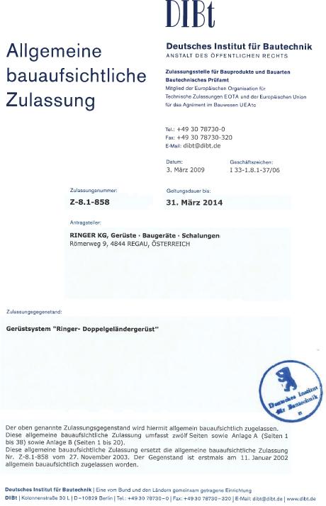 Certyfikat DIBt dla firmy Ringer
