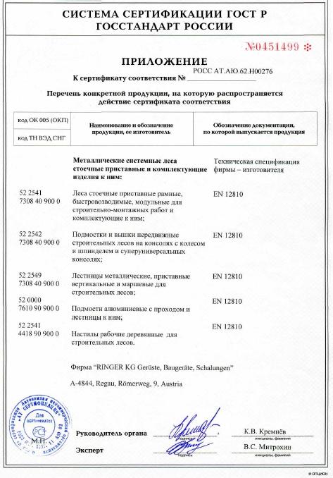 Certyfikat Nr POCC AT.AI-O62.H00276 dla firmy Ringer