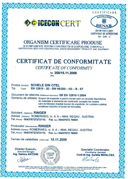 Certyfikat SR EN 12810-1:2004 dla firmy Ringer