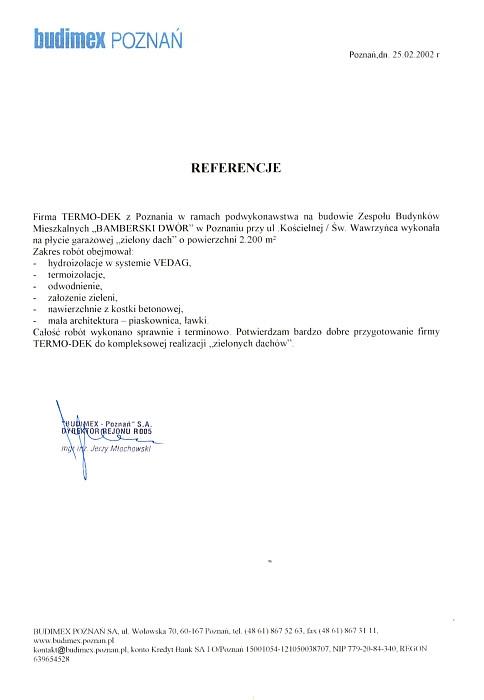 Referencje Budimex Poznań TERMO-DEK