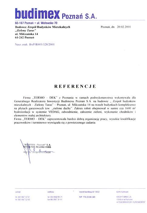Referencje Budimex Poznań S.A. TERMO-DEK