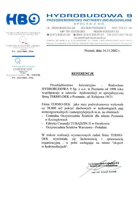 Referencje HYDROBUDOWA 9 TERMO-DEK