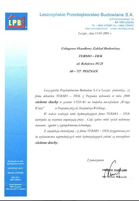 Referencje LPB S.A. TERMO-DEK