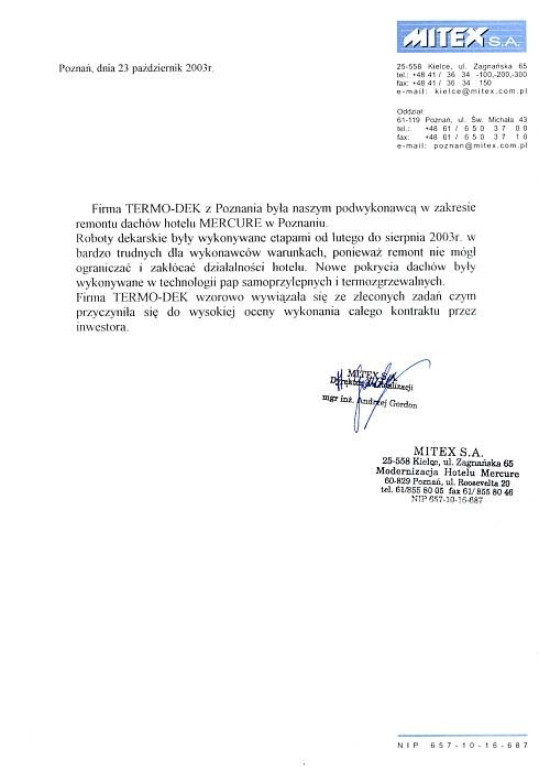 Refrencje MITEX S.A. TERMO-DEK