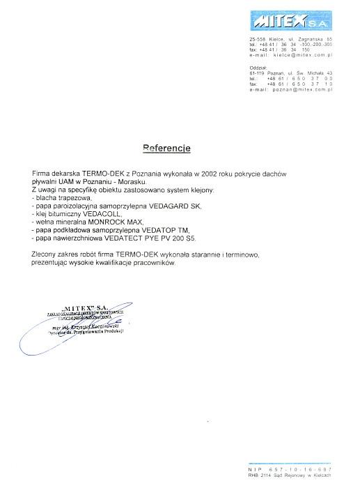 Referencje MITEX S.A. TERMO-DEK