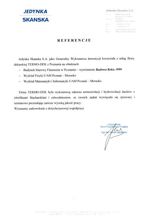 Referencje Jedynka Skanska S.A. TERMO-DEK