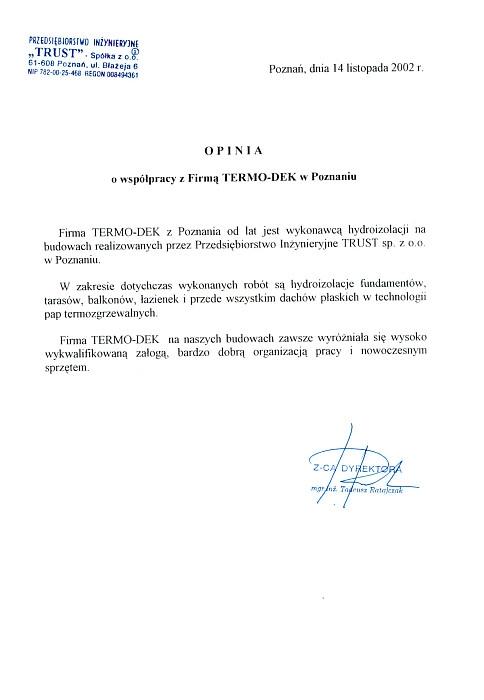 Referencje TRUST Spółka z o.o. TERMO-DEK