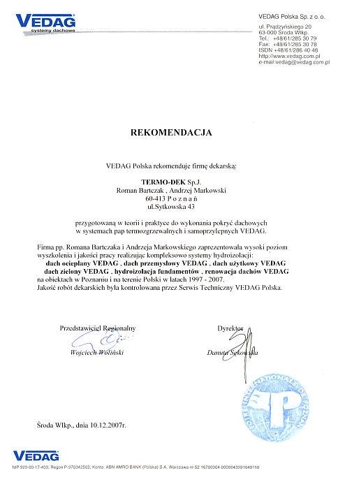 Rekomendacja Vedag Polska Sp. z o.o. TERMO-DEK