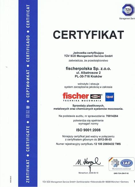 Certyfikat ISO 9001:2008 dla fischerpolska dla firmy Fischerpolska
