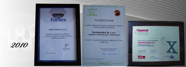 Nagrody i wyróżnienia 2010 firmy Fischerpolska