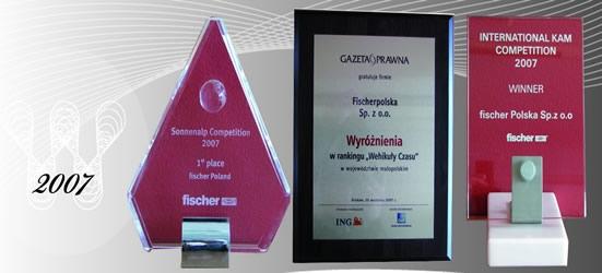 Nagrody i wyróżnienia 2007 firmy Fischerpolska