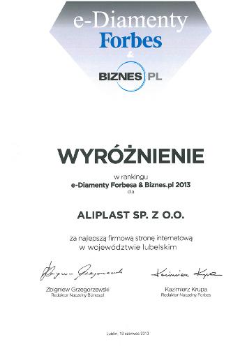 e-Diamenty Forbesa & Biznes.pl 2013, Aliplast