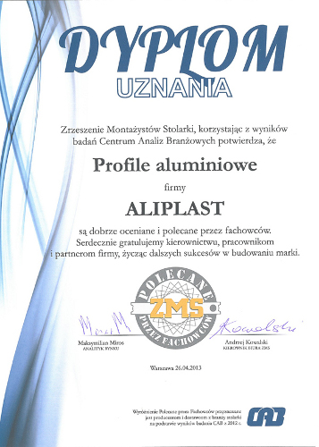 Dyplom uznania, Aliplast, Profile aluminiowe