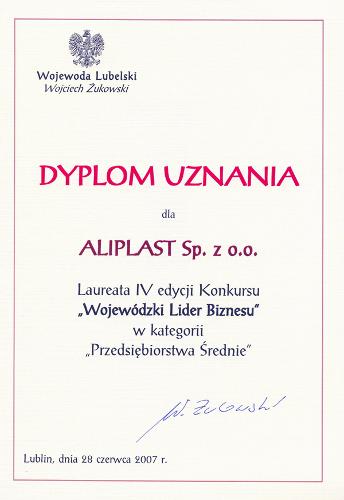 Wojewódzki Lider Biznesu, Aliplast