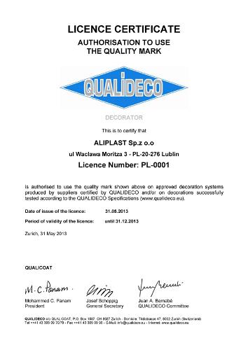 Certyfikat QUALIDECO - Aliplast PL-0001, Aliplast