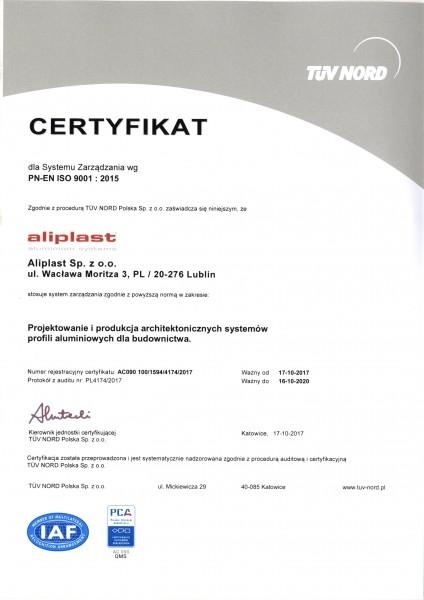 Certyfikatów instytutu TÜV NORD Polska Aliplast