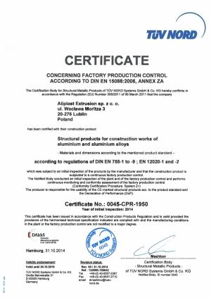Znak CE dla profili Aliplast Extrusion