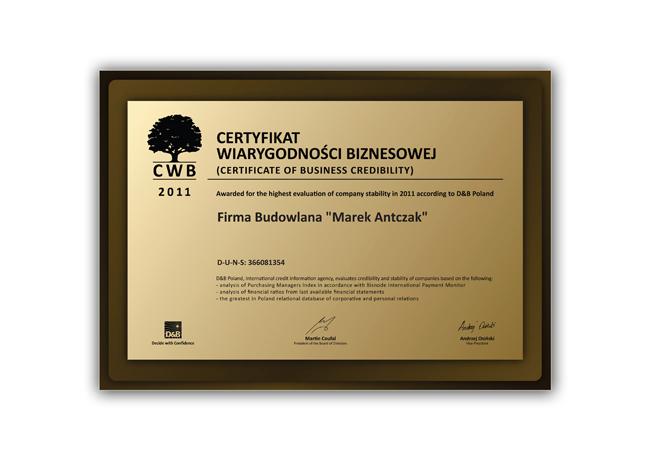 Certyfikat Wiarygodności Biznesowej dla Antczak