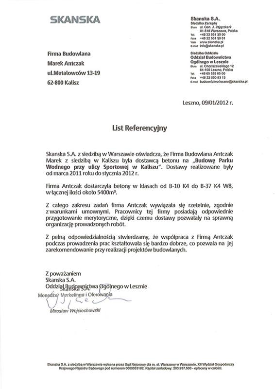 Skanska  List Referencyjny, Antczak