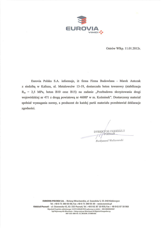 Eurovia - Referencje, Antczak