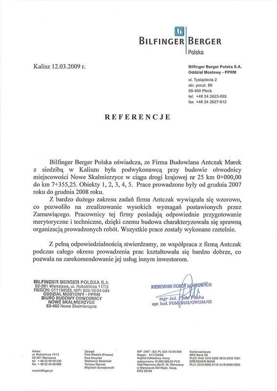 Bilfinger Berger Polska - Referencje, Antczak