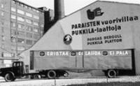 Początki Paroc - magazyn Pargas Kalkberg w Helsinkach i samochód dostawczy w roku 1957