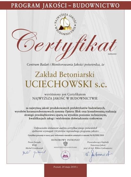Certyfikat, uciechowski
