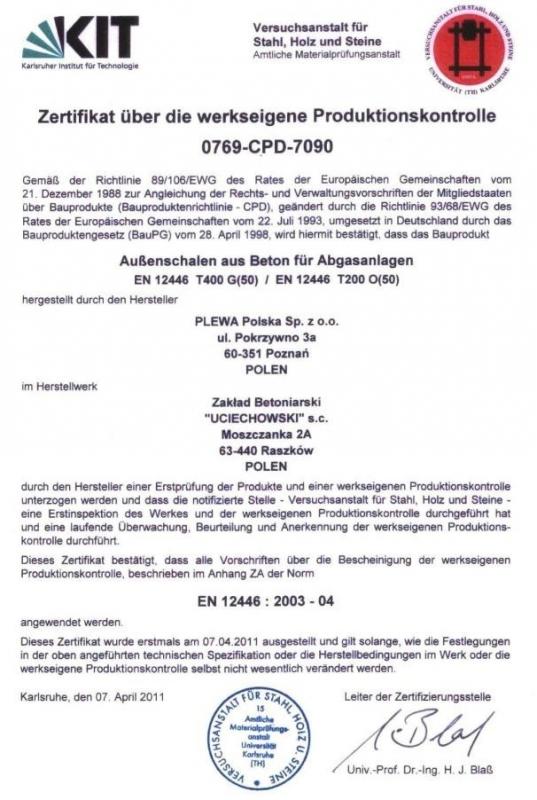 Certyfikat PLEWA Uciechowski
