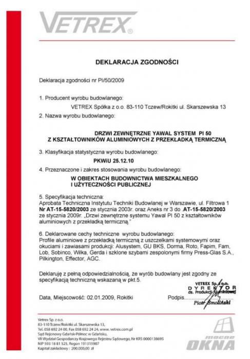 Deklaracja zgodności drzwi zewnętrzne PI/50/2009 Vetrex