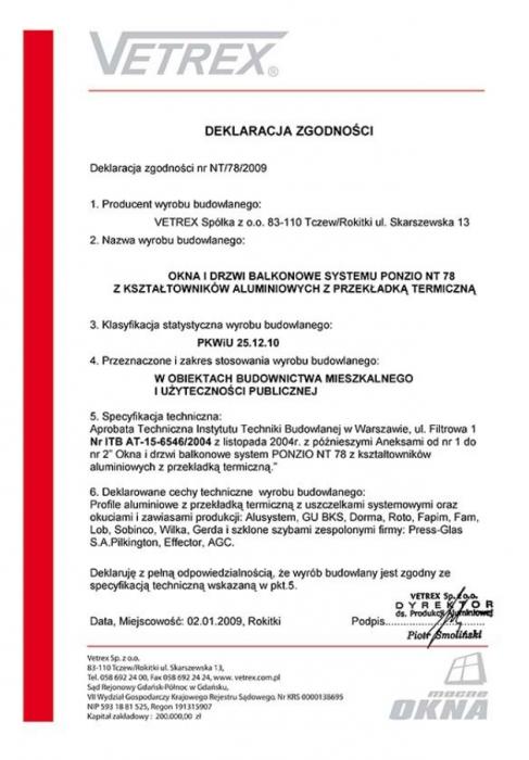 Deklaracja zgodności okna i drzwi balkonowe NT/78/2009 Vetrex