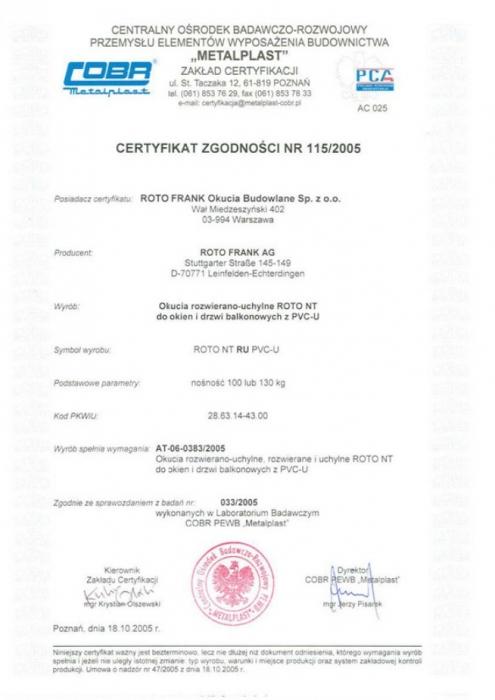 """Certyfikat zgodności - okucia """"RU"""" ROTO NT Vetrex"""
