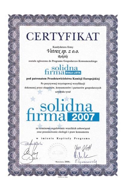 Certyfikat Solidna Firma Vetrex