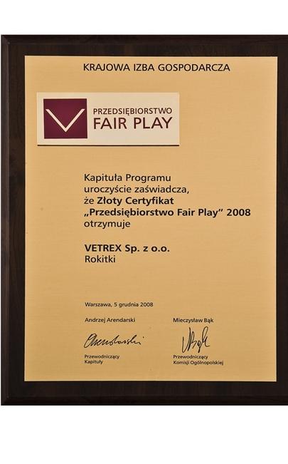 Nagroda Przedsiębiorstwo Fair Play Vetrex