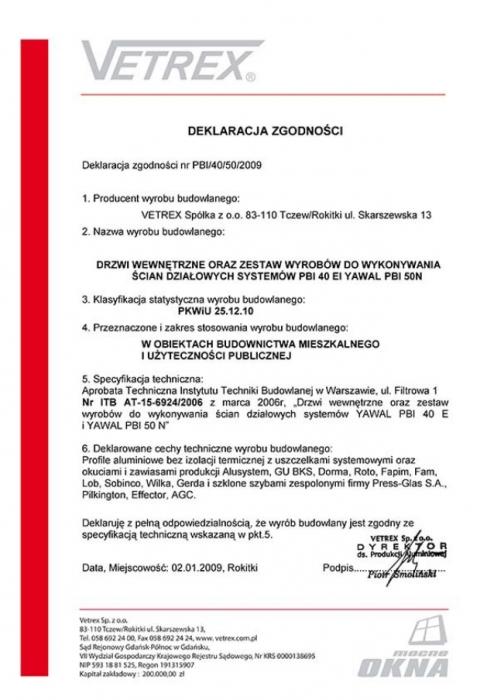 Deklaracja zgodności PBI/40/50/2009 Vetrex