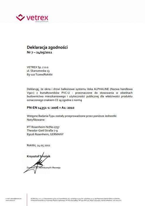 Deklaracja zgodności - Veka Alphaline Vetrex
