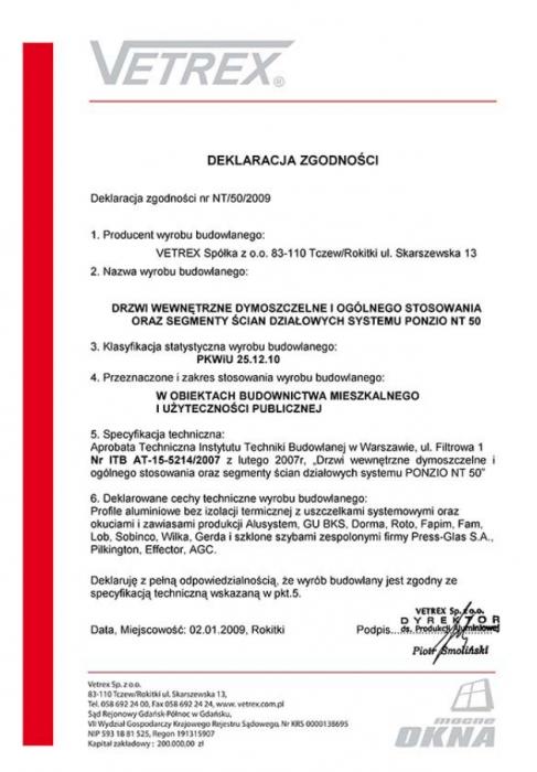 Deklaracja zgodności NT/50/2009 Vetrex
