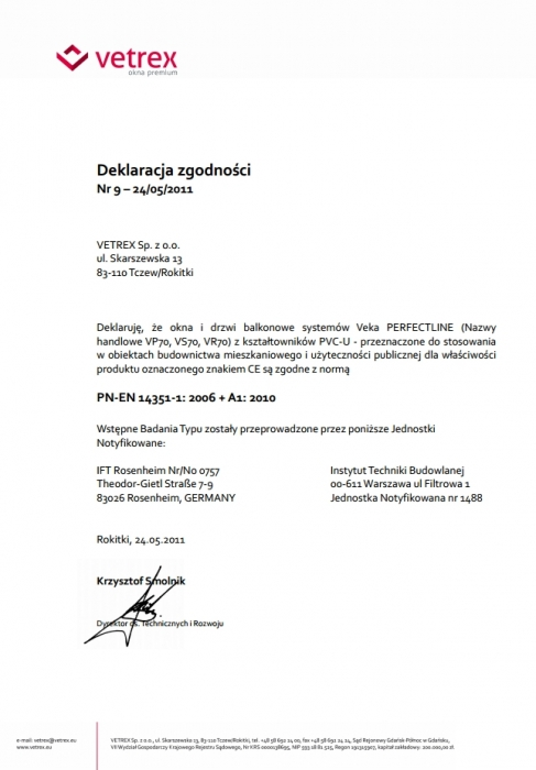 Deklaracja zgodności - Veka Perfectline Vetrex