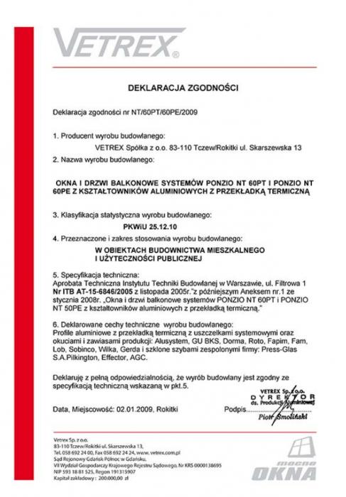 Deklaracja zgodności okna i drzwi balkonowe NT/60PT/60PE/2009 Vetrex