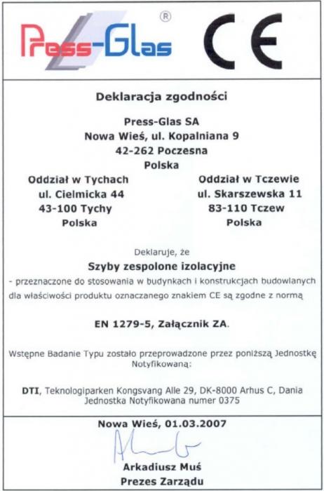 Deklaracja zgodności - Press-Glas Vetrex