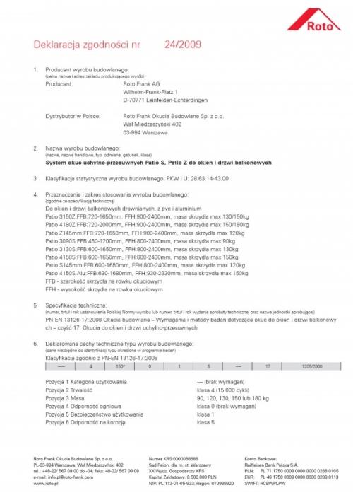 Deklaracja Zgodności okucia uchylno-przesuwne Patio S, Patio Z do okien i drzwi balkonowych Vetrex