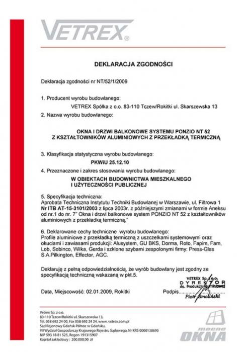 Deklaracja zgodności okna i drzwi balkonowe NT/52/1/2009 Vetrex