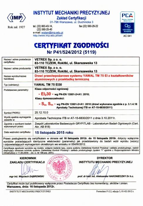Certyfikat zgodności - Klasa odporności ogniowej EI30 Vetrex