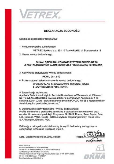 Deklaracja zgodności okna i drzwi balkonowe NT/68/2009 Vetrex